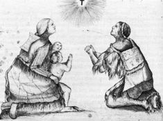 Drawing of a Wendat family praying after their conversion to Christianity by Jesuits, attributed to Jesuit missionary F. Social Studies, Christianity, Children, Kids, Community, Explore, History, Drawings, Collection