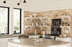 Modern Kitchen, Contemporary Kitchen Brick Backsplash White Cabinets Open Shelves — Brick backsplash ideas – a charming rustic touch in the interior Rustic Kitchen, Diy Kitchen, Kitchen Decor, Kitchen Design, Kitchen Paint, Grace Kitchen, Kitchen Ideas, Cuisines Diy, Cuisines Design