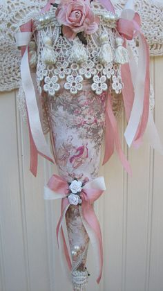Someplace In Thyme designs and creates one of a kind home decor for your cottage, romantic and shabby home. Victorian Crafts, Victorian Decor, Victorian Christmas, Vintage Crafts, Victorian Lace, Antique Decor, Shabby Chic Christmas Ornaments, Pink Christmas, Christmas Stockings
