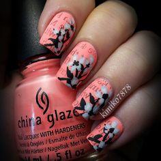 "Matte,neon,floral newspaper nails! CG's""FFF"""