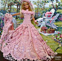 Vestido longo rosa para Barbie