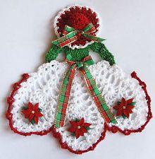 Christmas Crinoline Lady Hand Crochet Doily w Poinsettias / Sm Table Accent