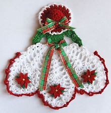 Christmas Crinoline Lady Hand Crochet Doily w Poinsettias / Sm Table Accent