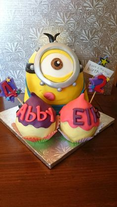 Minion Birthday Cake for two sisters