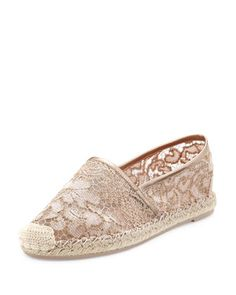Guipure+Lace+Espadrille+Flat,+Rose/Skin+by+Valentino+at+Bergdorf+Goodman.