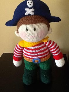 Knitted Pirate Doll by KikkinKazKreations on Etsy, $50.00