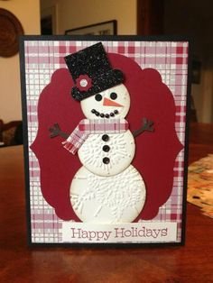 Snowman Holidays = snowman parts run through embossing folder