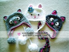 PDF Crochet Tutorial Pattern Here KITTY CAT Earflap Hat Prop Sizes Newborn to Adult by AngelsChest  Pattern No. 27. $7.99, via Etsy.