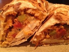 Healthified Taco del Schmar chicken burrito recipe from mesadevida.com! Easy, healthy and delicious! Gluten free and vegetarian options also. best-food-blogger-recipes
