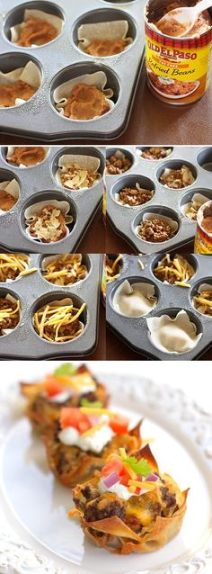 1 pound ground beef  taco seasoning 36 wonton wrappers  1 (16 ounce) can refried beans 36 tortilla chips  2 cups shredded cheese  toppings: sour cream, diced tomatoes, cilantro, onion  375 degrees.  Spray 18 muffin cups Place one wonton wrapper in the bottom of each cup. 1 Tbsp of refried beans. Crush one tortilla chip on top of the beans.1 Tbsp of taco meat and 1 Tbsp of shredded cheese. Repeat .Bake for 15-18 minutes or until golden. Let cool. Top with toppings
