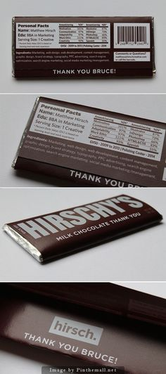 Designers take note. A clever idea for personal #packaging, CV on #chocolate curated by Packaging Diva PD created via http://www.fubiz.net/2014/07/22/a-cv-on-a-chocolates-packaging/