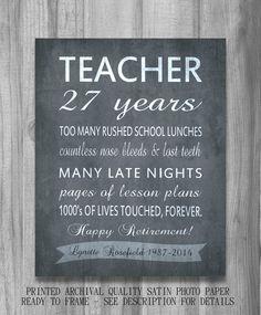 Teacher RETIREMENT Gift  Personalized Inpirational Print Unique Idea CUSTOM Teachers Appreciation Your Words Colors