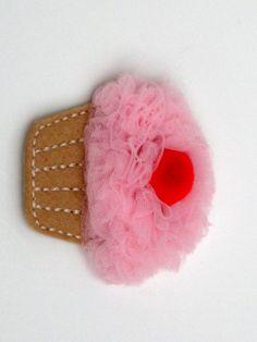 Cupcake Applique Hair Clip