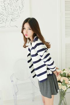 Stripe Open Short Cardigan