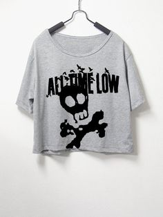 All time low,crop top, grey color, women crop shirt, screenprint tshirt, graphic tee
