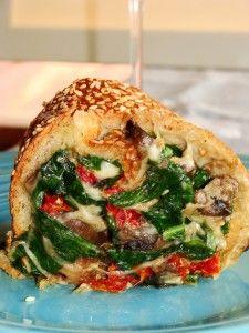 Spinach, mushroom and sun-dried tomato mozzarella stuffed bread recipe