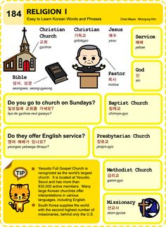 184 Learn Korean Hangul Religion 1