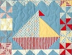 Sailing Sailing Quilt Pattern - Cute Little Boy's Quilt - PDF Format Cute Quilts, Boy Quilts, Small Quilts, Nautical Baby Quilt, Nautical Theme, Coastal Quilts, Ocean Quilt, Quilting Projects, Quilting Ideas