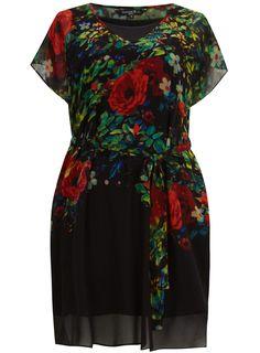 Photo 1 of Scarlett & Jo Black Floral Print Tunic Dress