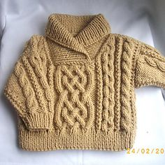 Liam aran sweater for babies and toddlers, PDF knitting pattern on Ravelry