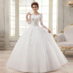 Vestido De Casamento 2015 Casamento Vestido De Noiva De três quartos barco manga De Renda Vestido De Casamento Vestido De Mariage Boda em Vestidos de noiva de Casamentos e Eventos no AliExpress.com | Alibaba Group