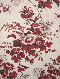 Antique French chintz madder brown floral fabric 1850