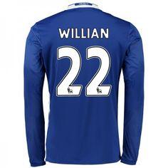 Chelsea 16-17 #Willian Borges da Silva 22 Hjemmebanesæt Lange ærmer,245,14KR,shirtshopservice@gmail.com