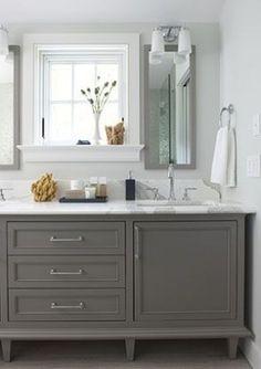 Window with deep casement with double sink vanity - grey bathroom vanity Grey Bathroom Cabinets, Grey Bathroom Vanity, Grey Cabinets, Grey Bathrooms, Beautiful Bathrooms, Small Bathroom, Gray Vanity, Master Bathroom, White Bathroom