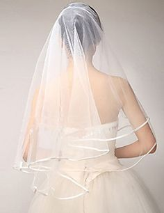Two-tier Elbow Wedding Veils With Ribbon Edge(More Colors) – USD $ 6.99