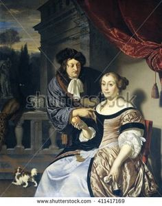 A Man and a Woman, by Frans van Mieris (I), 1678, Dutch painting, oil on panel. On a terrace man gazes at and gently touches a seated women's shoulder. She holds an orange in her right hand,