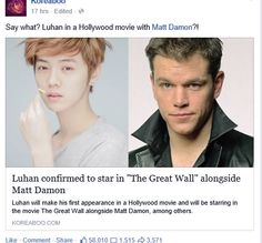 First Kris in a movie with Vin Diesel and Samuel L. Jackson, now Luhan with Matt Damon!!! I can't handle this!!!