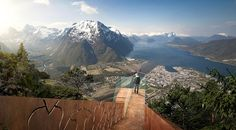The Åndalsnes Sky Ramp -   Illustration of a mountain viewing platform by Streken Arkitekter, Norway.  The design allows walkers to experience the mountain exposure in all its glory.