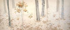 菱田春草筆 明治42年(1909) 紙本着色 六曲一双 各157.0×362.0 永青文庫美術館