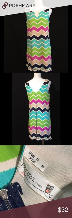 PINK OWL APPAREL CHEVRON DRESS Zips up back GUC Pink Owl Apparel Dresses Midi