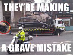 Morbid Humor Nearly laughed to death. Funeral jokes, the grim reaper, funny tombstone, and an assortment of death related comics. Twisted humor of mine Bad Parking, Tow Truck Driver, Sherlock Series, Sherlock Cast, Perfectly Timed Photos, Perfect Timing, Bad Timing, Bob Marley, Funny Posts