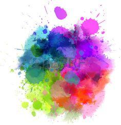 Acquerello multicolore spruzzi macchia Archivio Fotografico