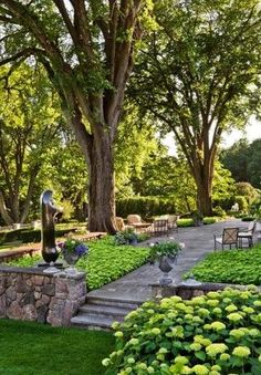 Outdoor patio terrace green luxury garden