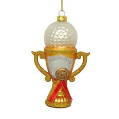 """4"""" Noble Gems Blown Glass Golf Ball on Trophy Sports Christmas Ornament"""