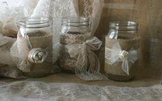 Burlap wedding VINTAGE lace wedding JARs Burlap by Bannerbanquet