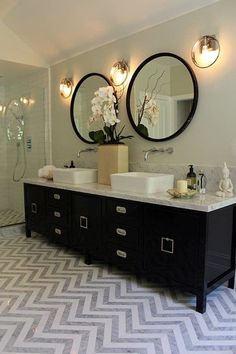"""This floor makes such a statement! digging it---  It's a laser-cut marble chevron pattern that was """"custom made by our favorite tile and marble shop in LA, Royal Stone.""""    If mar…"""