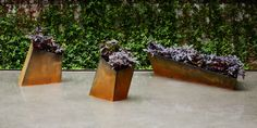 geometric flower pot in corten steel Metal Planters, Garden Planters, Contemporary Planters, Metal Garden Art, Geometric Flower, Garden Stones, Diy Home Improvement, Home Collections, Garden Inspiration
