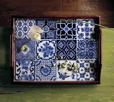 blue and white tea tray by the Bombay Company