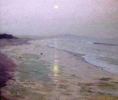 """""""Moonrise Over the Beach,"""" Lowell Birge Harrison, ca. 1913, oil on canvas, 36 x 40 1/2"""", Art Complex Museum - Duxbury, MA. Note the similarity to Alexander's """"Marine"""" in the Musée d'Orsay (scroll down a bit)."""
