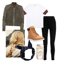 """""""fall fashion"""" by vbutler18 ❤ liked on Polyvore featuring Balmain, Gucci, Timberland, Boohoo, Rick Owens and Casetify"""