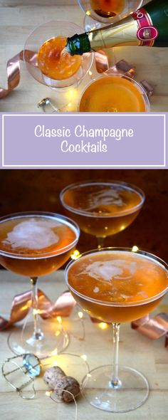 These Classic Champagne Cocktails are so simple to make, and look stunning too! #champagnecocktail #champagne #cocktail #thanksgiving #christmas #newyear | www.rachelphipps.com @rachelphipps