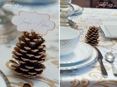squaw valley wedding by larissa cleveland photography pine cone place card and wedding