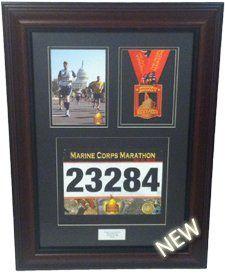 Triumph Marathon and Triathlon Photo, Finishing Medal and Race Bib Framing Kit - Library Mahogany
