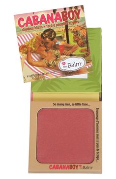 One of my most favourite berry-toned blushes. Works great worn lightly in the summer and a works well worn a lil' heavier in the summer.  theBalm 'Cabana Boy' Powder #Eyeshadow & #Blush #Nordstrom
