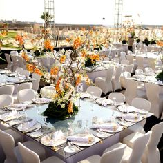 Tables with orange centrepieces welcome the guests