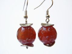 Red beaded semi precious gemstone dangle earrings of agate and sterling silver